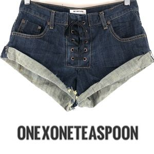 One By One Teaspoon Lace Up shorts Cut Off Cuffed